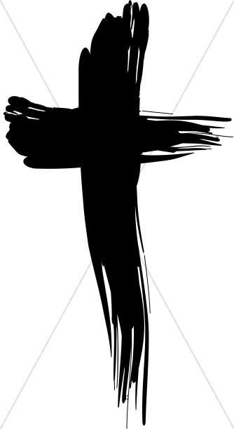 Bold brushstroke cross. Crucifix clipart brush