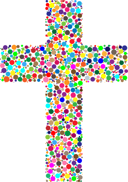 Cross clipart eps. Christ colorful free painted