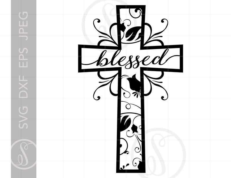 Cross clipart eps. Blessed svg cut file
