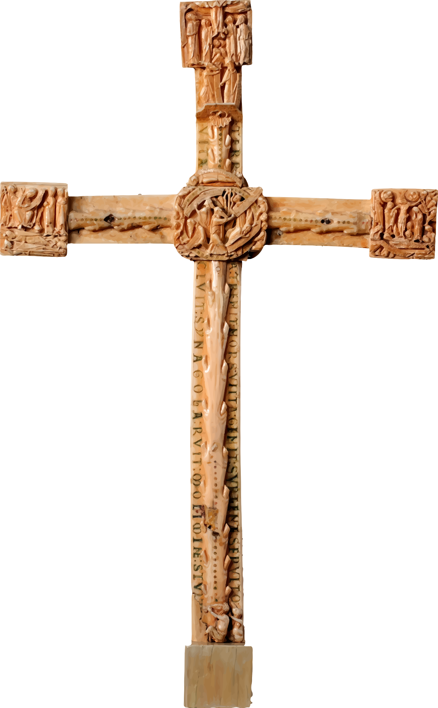 Carved big image png. Crucifix clipart wooden cross