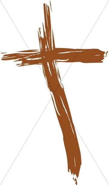 Painted ash wednesday . Cross clipart wooden cross