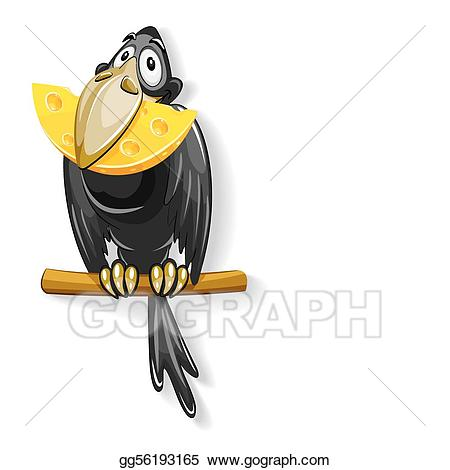 Vector illustration black with. Crow clipart cheese clipart
