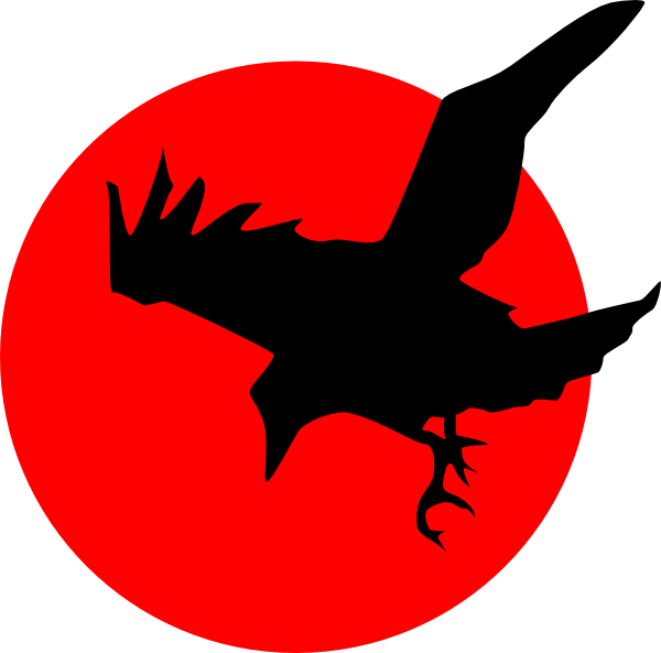 Crow clipart creepy. Raven on red clip