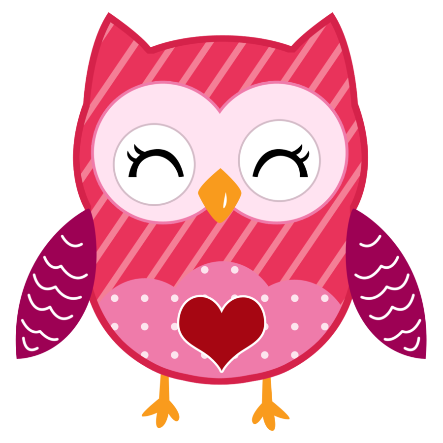 Valentine cute minus owl. Owls clipart december