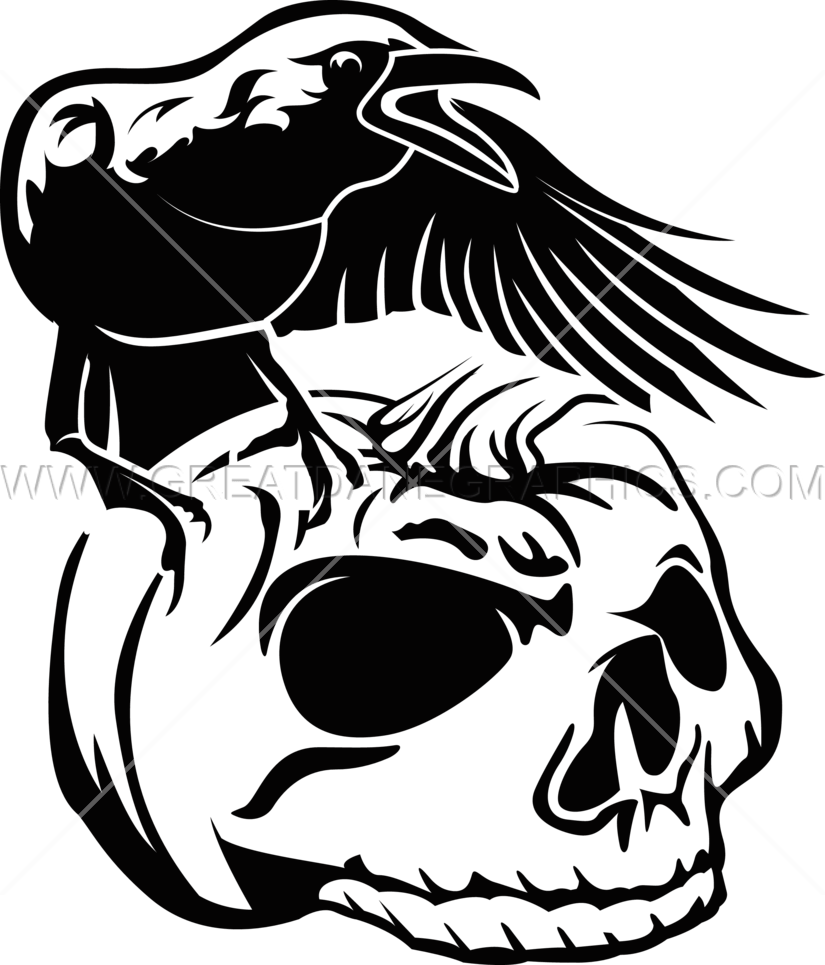 Skeleton clipart crow. Pumpkin skull production ready
