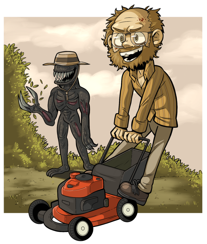 Resident evil vii art. Mowing clipart lawnmower man