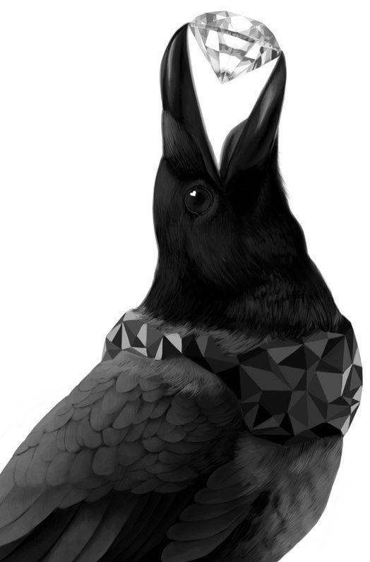 Crow clipart shiny. Crows collect things little