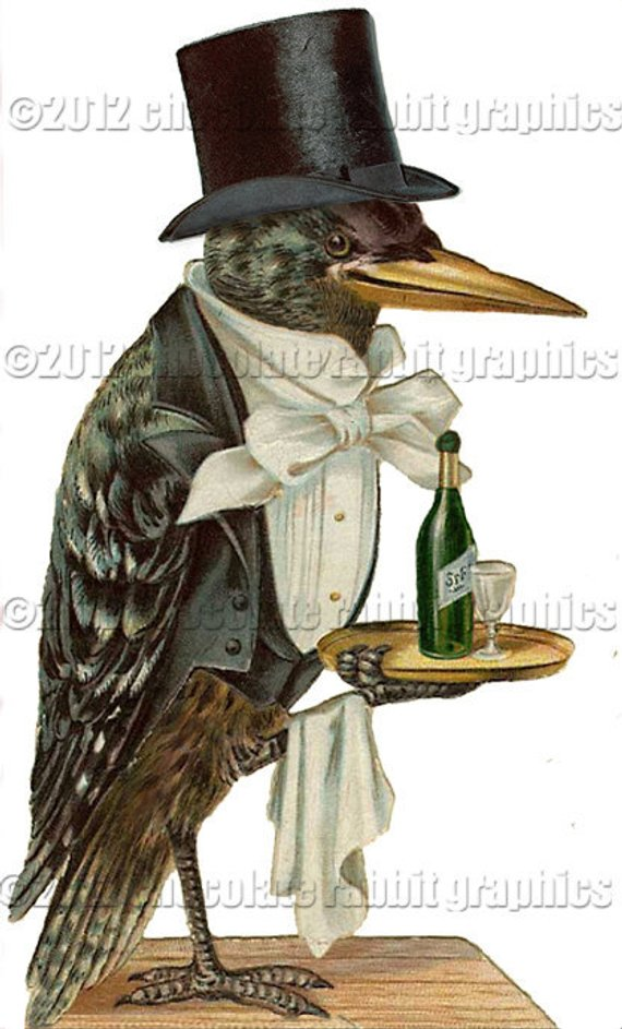 Crow clipart victorian. Altered clip art waiter