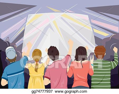 Crowd clipart back crowd. Vector illustration concert audience