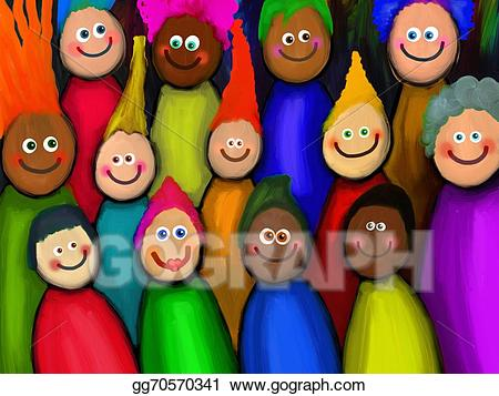 Of people stock illustration. Crowd clipart diverse person