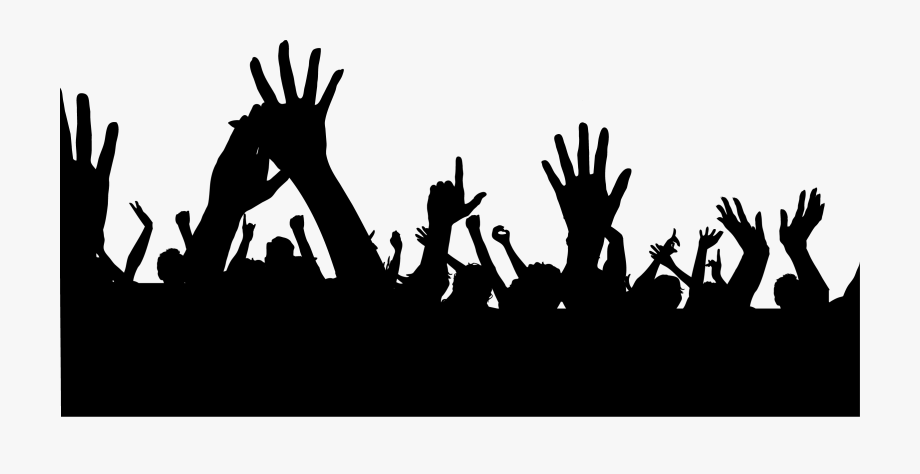 Crowd clipart hands. With up people png