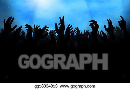 Crowd clipart hands. Stock illustration with raised