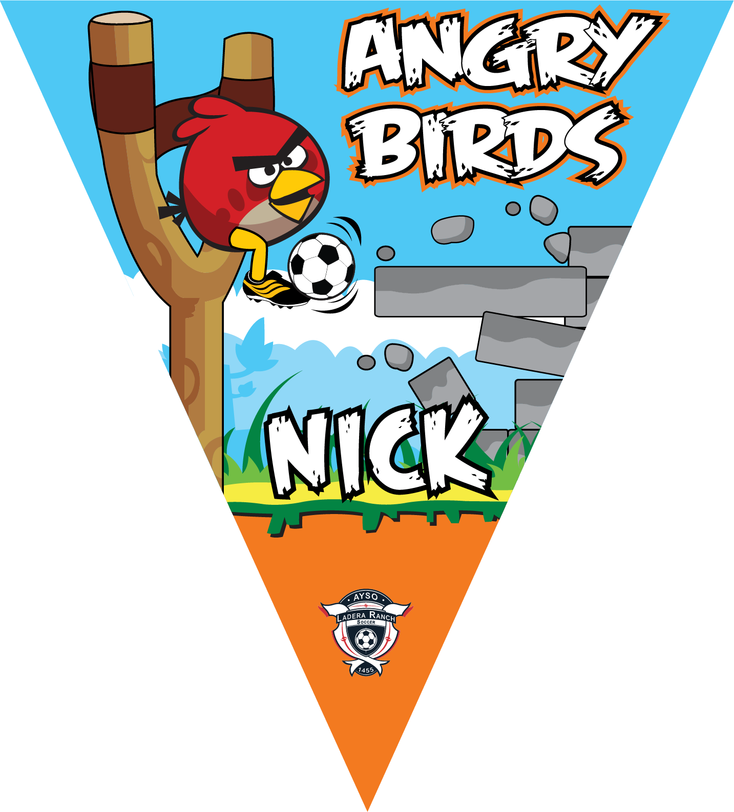 Angry birds red triangle. Triangular clipart pennant