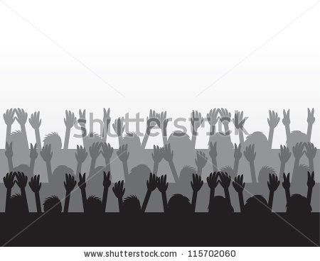 Silhouettes cheering at concert. Crowd clipart movie audience