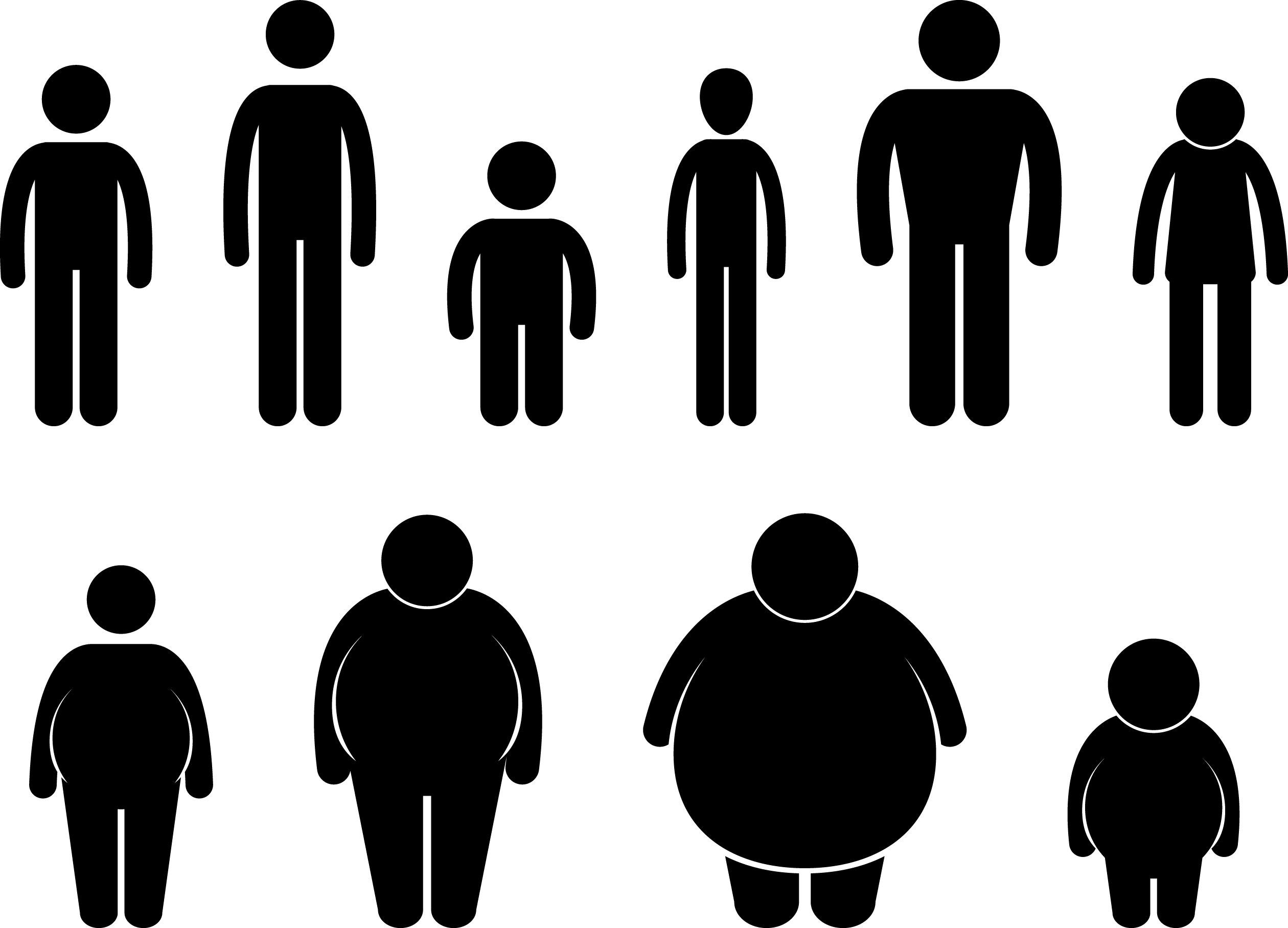 Fat people silhouette at. Witch clipart obese
