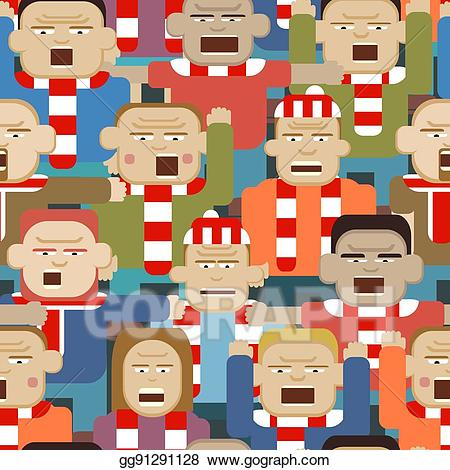 Crowd clipart sport crowd. Eps vector sports seamless