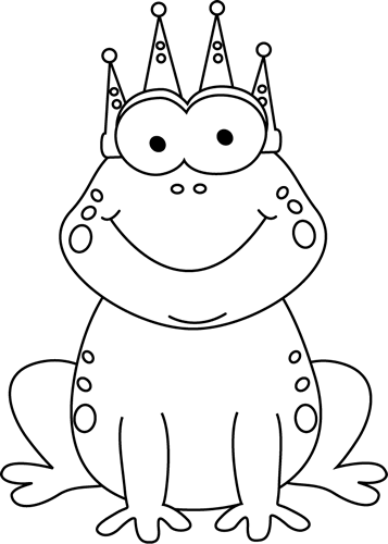 Frog prince image. Crown clip art black and white