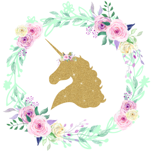 Unicorn center floral wreath. Crown clip art gold glitter
