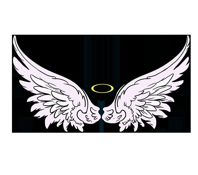 Crown clipart angel. Simple wings drawing free