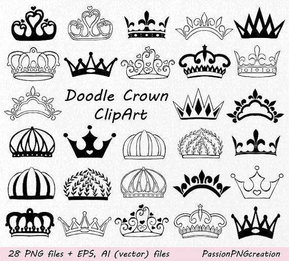 Crown clipart doodle. Hand drawn clip art