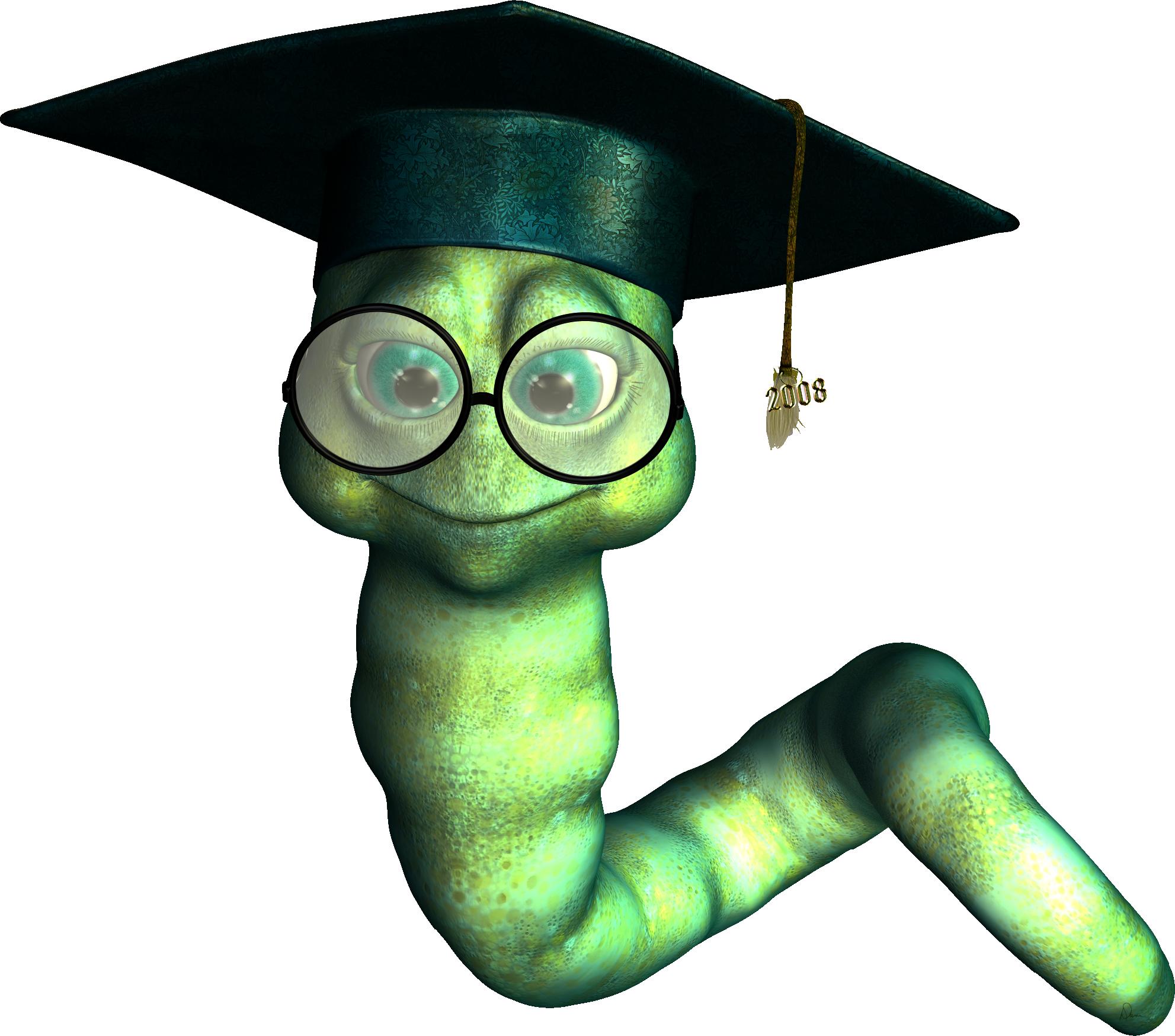 Graduate bookworm dani foster. Worm clipart hat