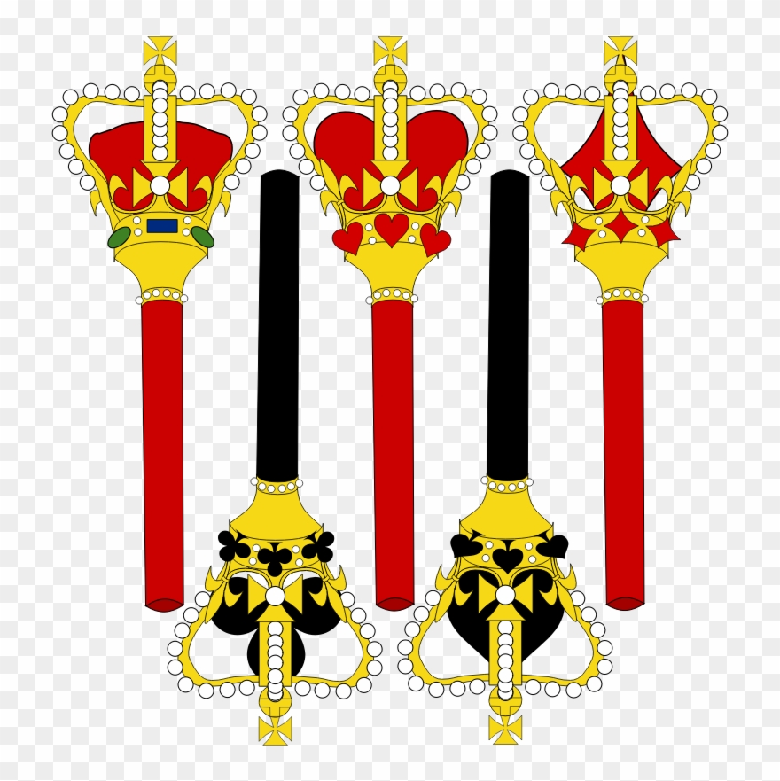 Crown clipart sceptre. Stylized for card faces