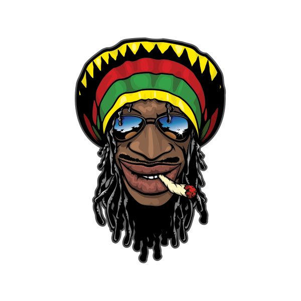Printed vinyl jamaican man. Factories clipart smoking