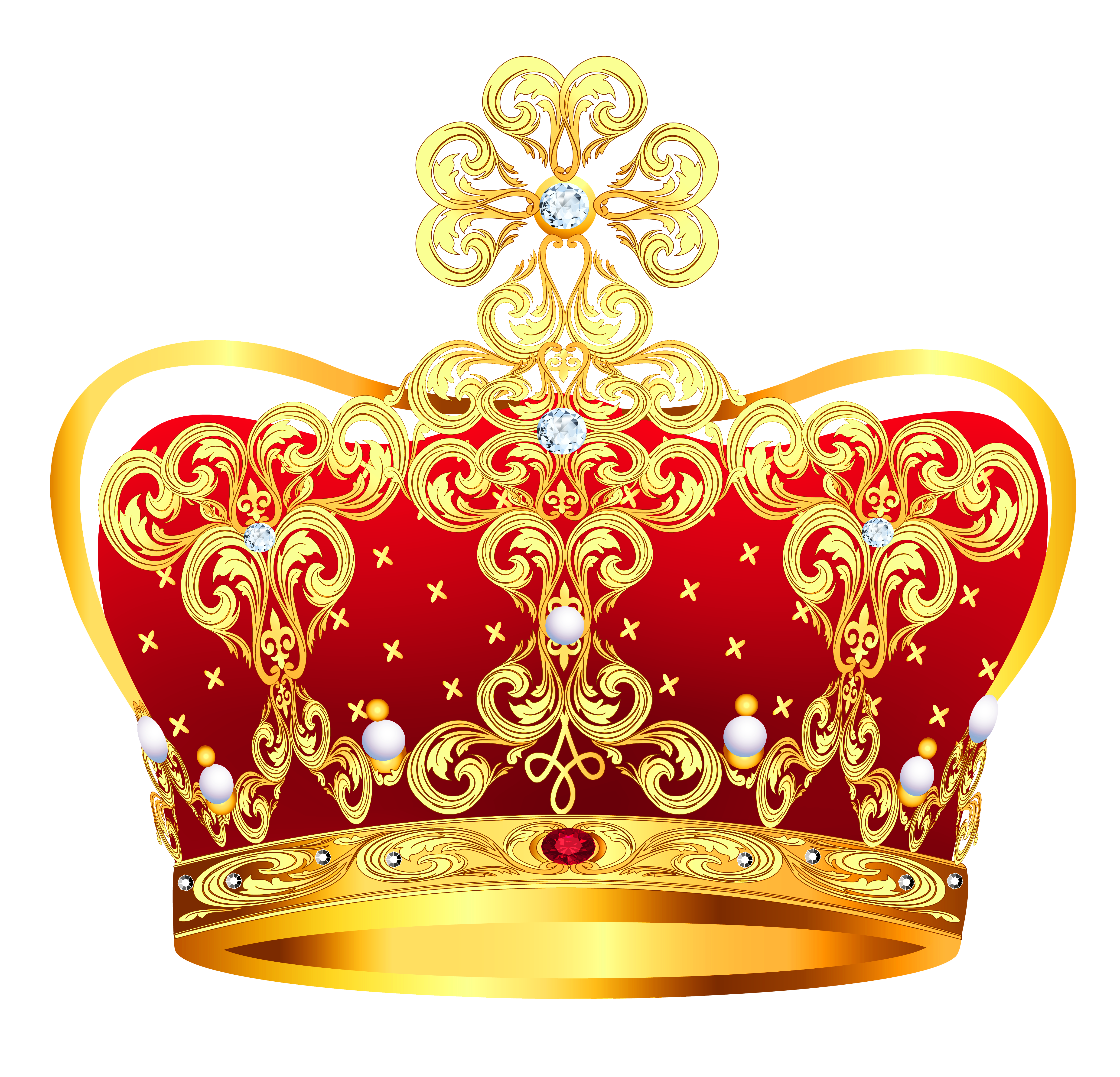 And red with pearls. Queen clipart crown gold