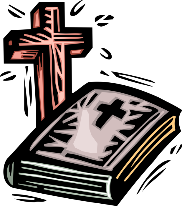 Holy good book with. Crucifix clipart bible