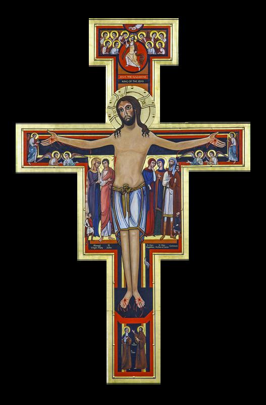 Crucifix clipart brown. San damiano