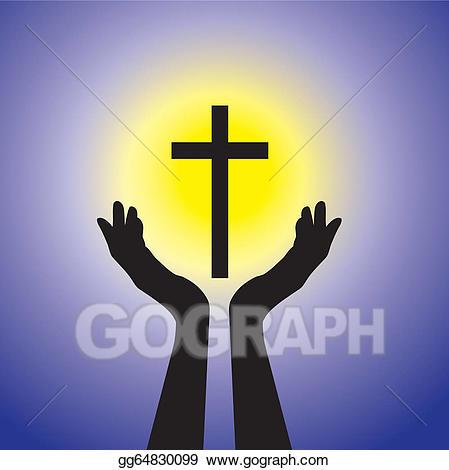 Crucifix clipart cross sun. Eps vector person praying