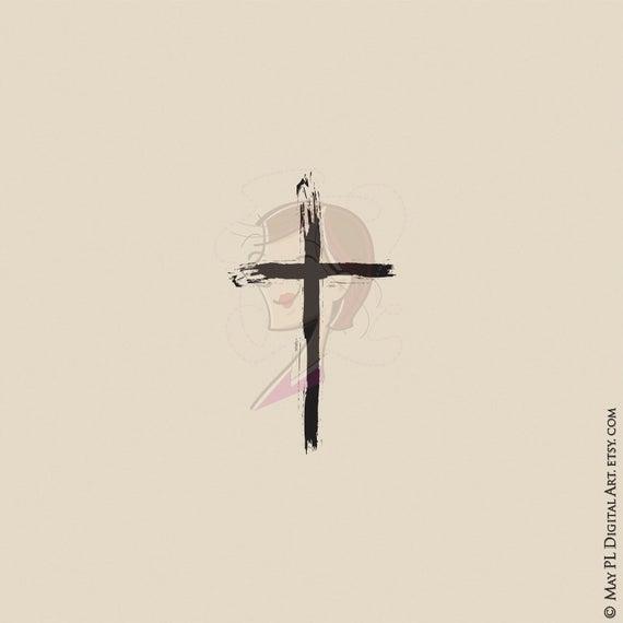 Christian thin brushstroke for. Crucifix clipart decorative cross