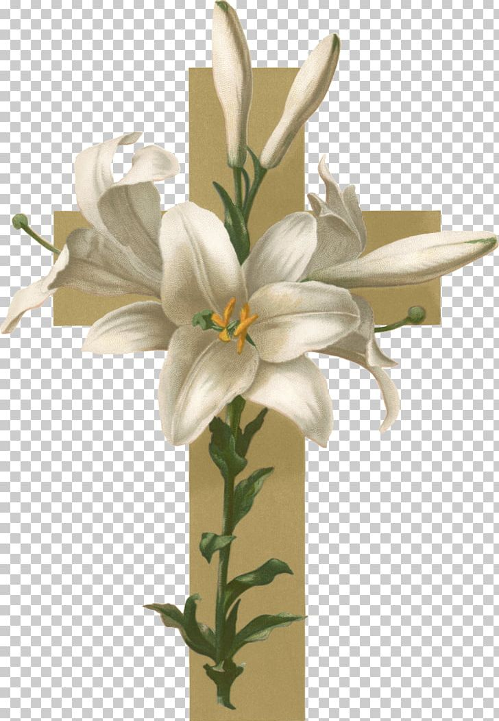 Lily christian cross flower. Funeral clipart easter