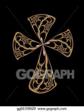 Stock illustration gold drawing. Crucifix clipart filigree cross