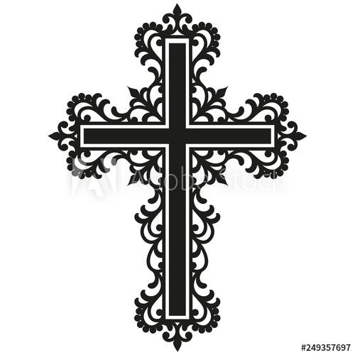 Crucifix clipart filigree cross. Catholic christian buy this