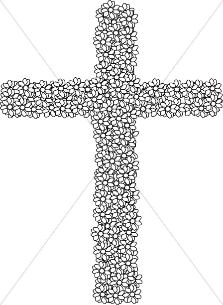 Crucifix clipart flower. Black and white simple