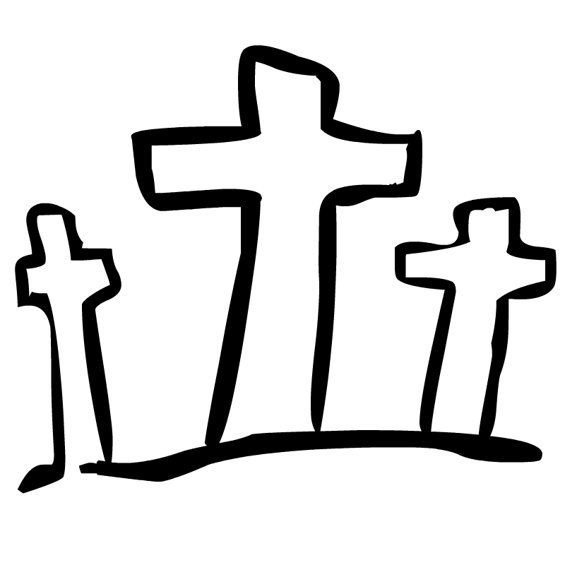 Cross black and white. Crucifix clipart kid