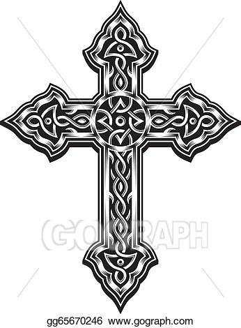 Crucifix clipart ornate cross. Eps illustration christian vector