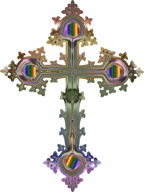 Crucifix clipart ornate cross. Prismatic no background big