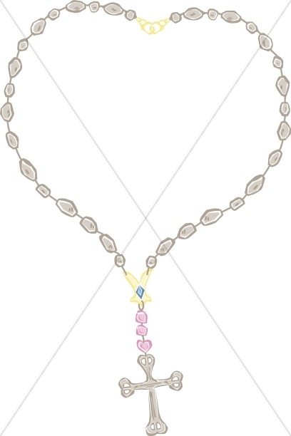 Crucifix clipart rosary necklace. Heart shaped cross