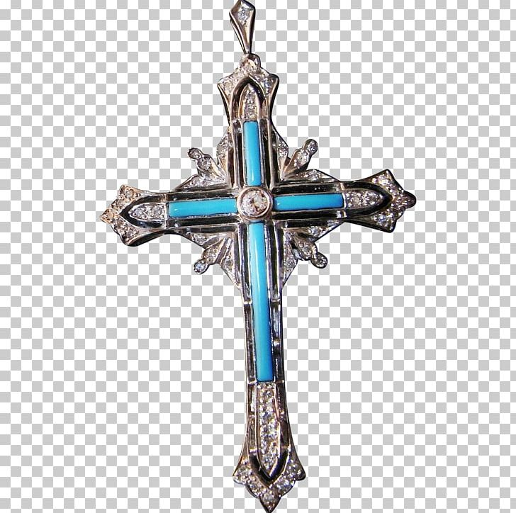 Necklace jewellery charms pendants. Crucifix clipart turquoise cross