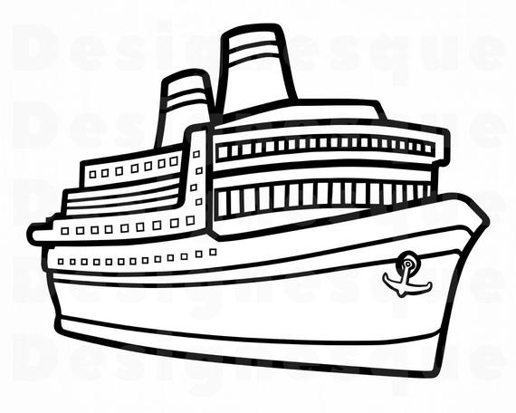 Ship svg vacation files. Cruise clipart outline