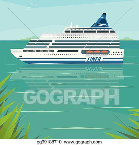 Cruise clipart side view. Eps illustration liner slowly