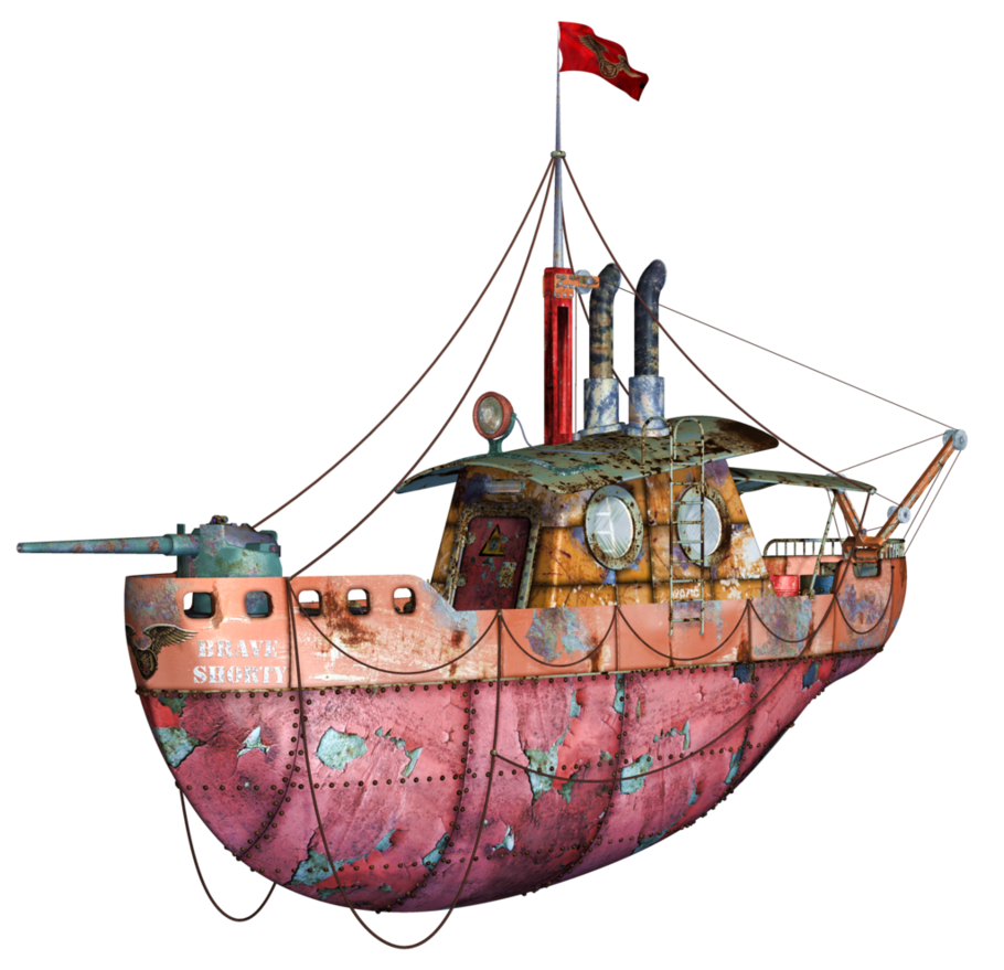 Steampunk clipart flying machine. Tug boat png stock