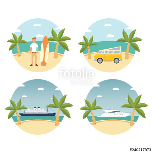 Cruise clipart tropical island. Summer landscape sandy beach