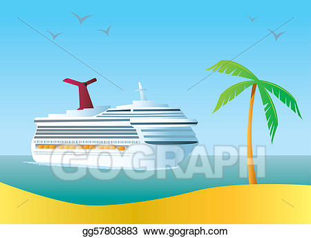 Cruise clipart tropical island. Vector art ship eps