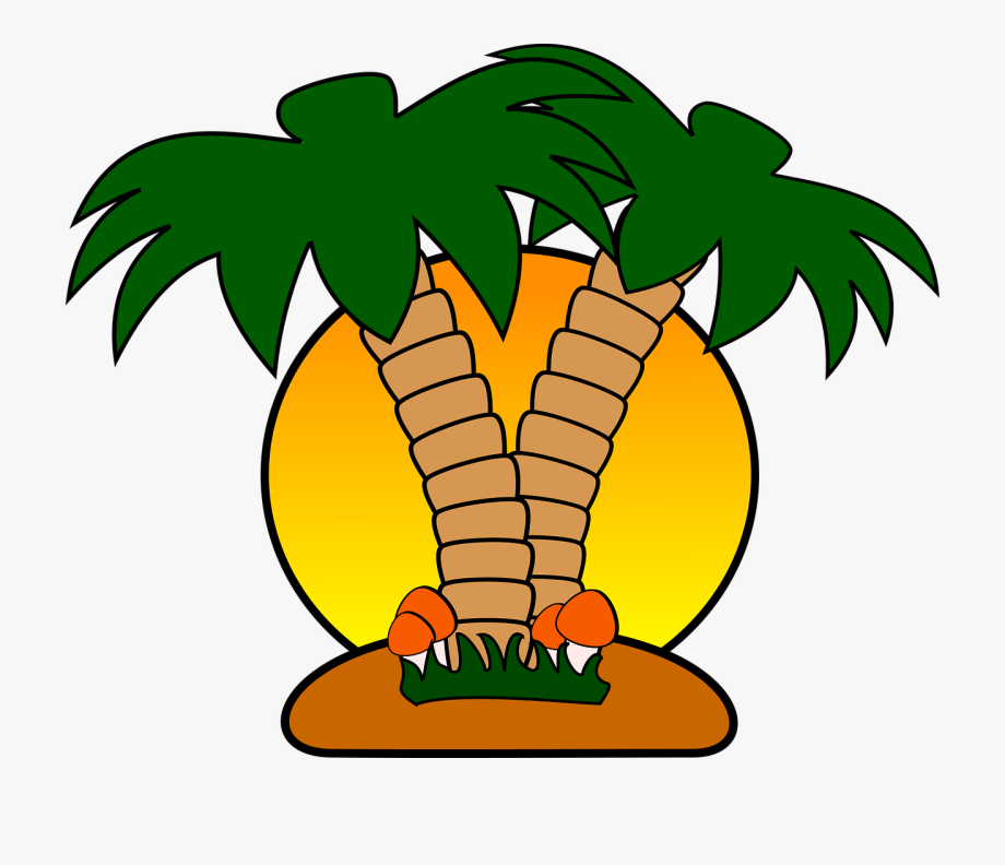 Free with palm trees. Cruise clipart tropical island