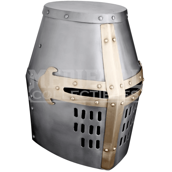 Brass trim great helm. Crusader helmet png