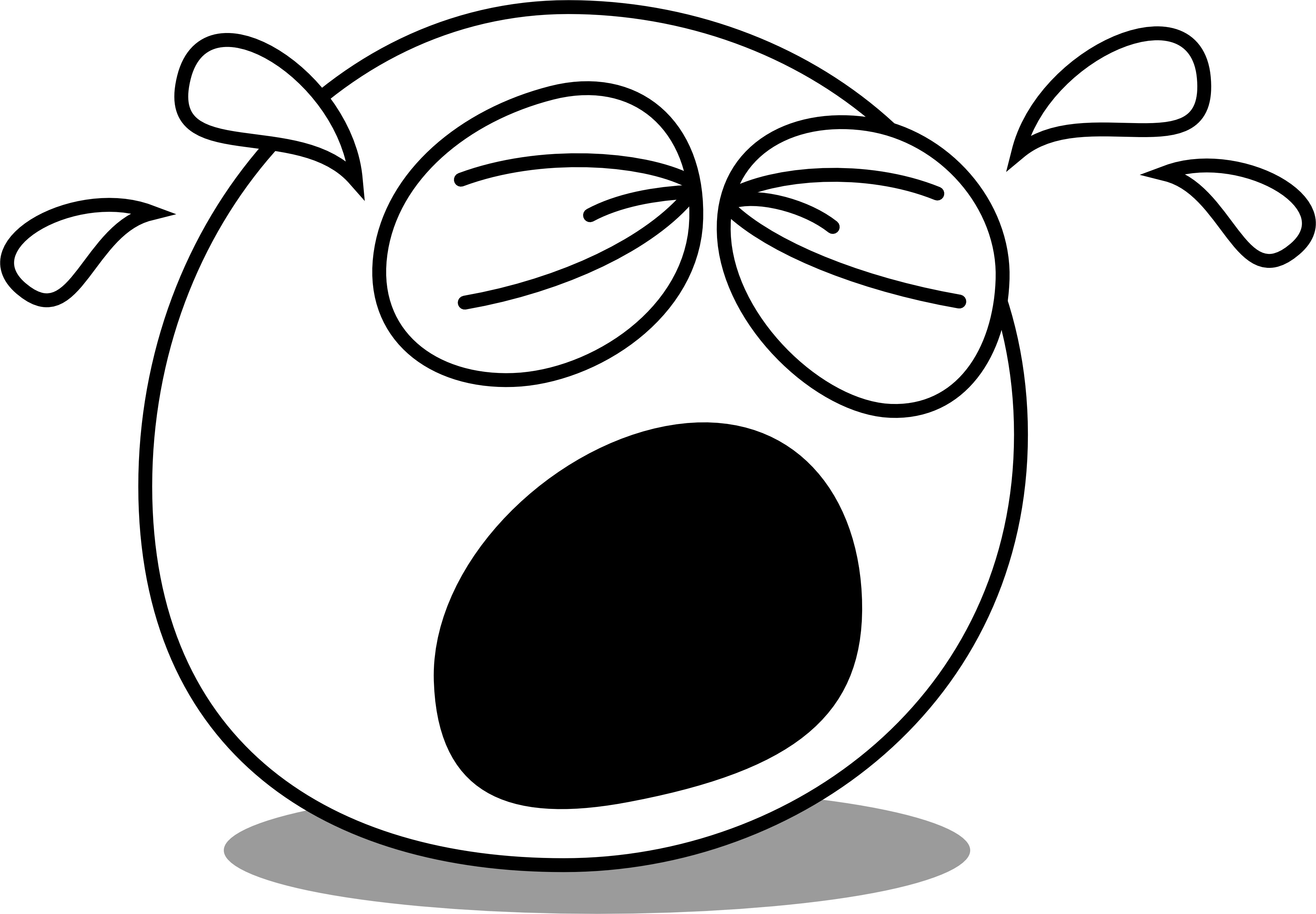 File face eyes caricature. Cry clipart black and white