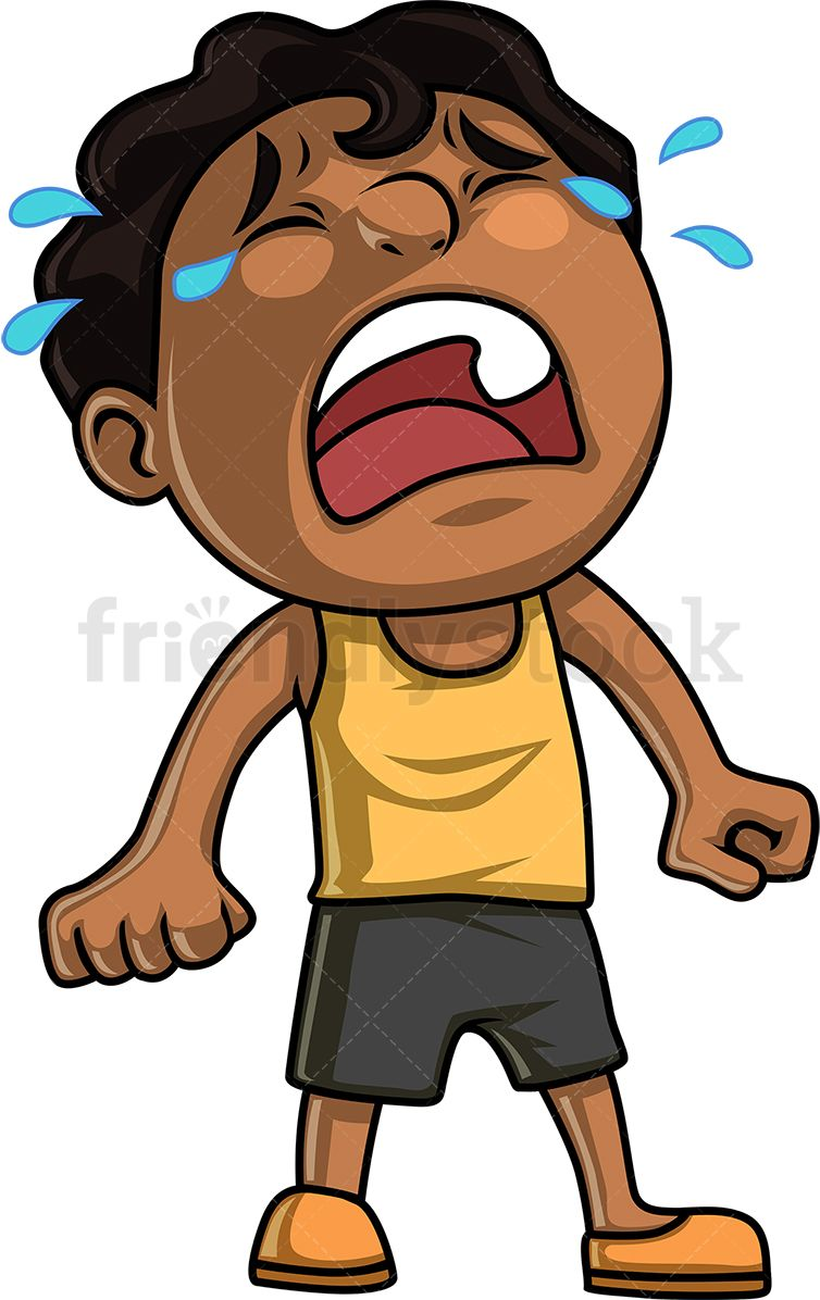 Black little boy hysterically. Crying clipart cry kid